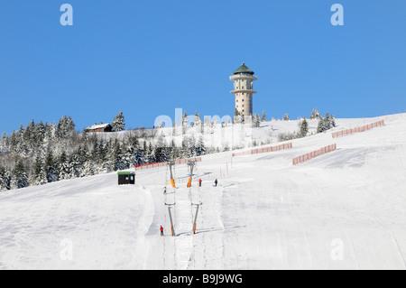 Ski lift and ski slope on Feldberg in the Black Forest, Baden-Wuerttemberg, Germany, Europe