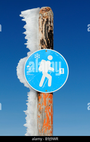 Hiking trail sign in Southern Black Forest Nature Park, Germany, Europe - Stock Photo