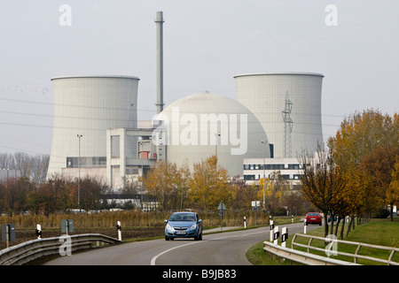 Nuclear Power Plant Biblis on the Rhine, operated by RWE, Biblis, Hesse, Germany, Europe - Stock Photo