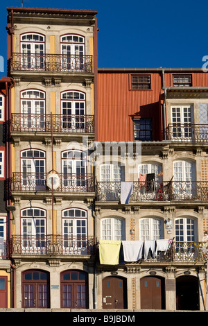 Typical facades at Ribeira Quay, Porto, UNESCO World Cultural Heritage Site, Portugal, Europe - Stock Photo