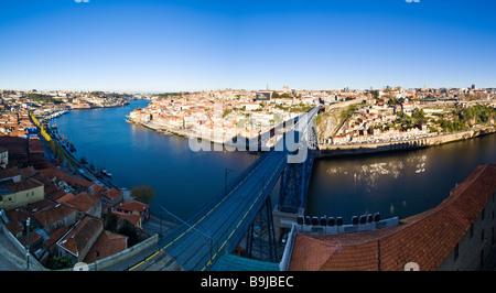 View of Porto from the Vila Nova de Gaia quarter, at back Cais da Ribeira with historic town centre, at front the - Stock Photo