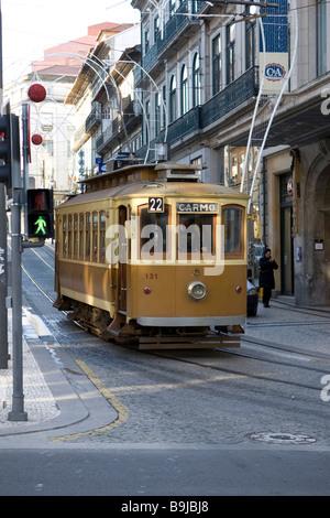 Old tram in the Rua de Santa Catarina Street, Porto, UNESCO World Heritage Site, Portugal, Europe - Stock Photo