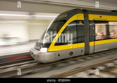Porto, Portugal. A Metro do Porto subway train crosses the ...