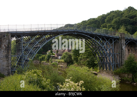 Ironbridge crossing the river Severn, first iron bridge worldwide, built by Abraham Darby in 1779, in Telford, Shropshire, - Stock Photo