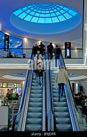 Escalator with under a dome light in a shopping mall, Muenster, Westphalia, Germany, Europe - Stock Photo