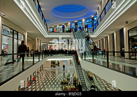 Modern downtown shopping mall, Muenster, Westphalia, Germany, Europe - Stock Photo