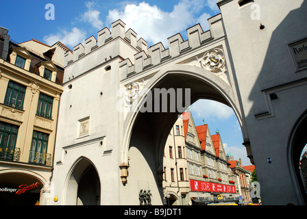 Karlstor Gate Neuhauser On Stachus Neo Gothic Archway With Crennels And Turrets