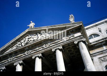 Teatro Nacional Dona Maria II, classicist national theatre on Rossio Square, Praca de Dom Pedro IV, old city, Lisbon, - Stock Photo
