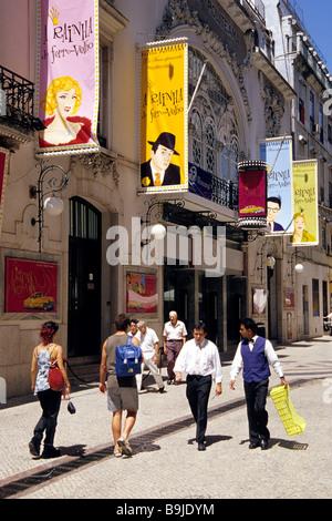 Theatre, advertising signs on the facade, people in front of the Teatro Politeama in the Rua dos Portas de Sao Antao, - Stock Photo