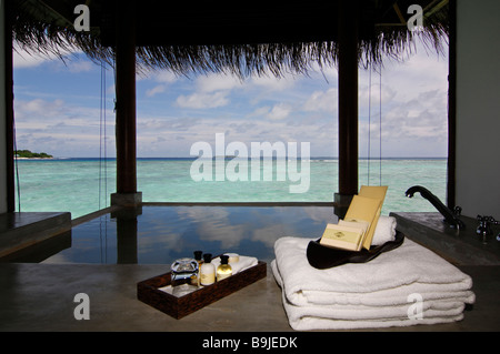 Water bungalow, open-air bath, luxury suite, Full Moon Resort, Maldives, Indian Ocean - Stock Photo