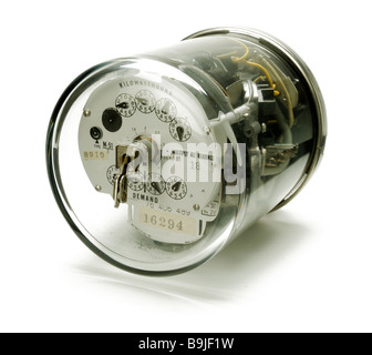 An electrical power meter on it's side - Stock Photo