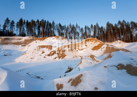 Gravel and sand extraction area on a glacial esker , Finland - Stock Photo