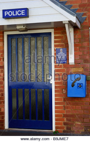 Entrance and emergency phone box, Police Station, Sidmouth, Devon, England, UK - Stock Photo