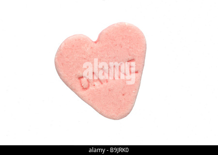 peppermint heart with the german word danke thank you - Stock Photo