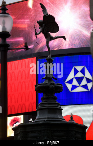 Statue of Eros in Piccadilly Circus London England - Stock Photo
