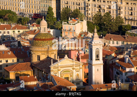France, Alpes Maritimes, Nice, Sainte Reparate Cathedral and Old Town roofs - Stock Photo