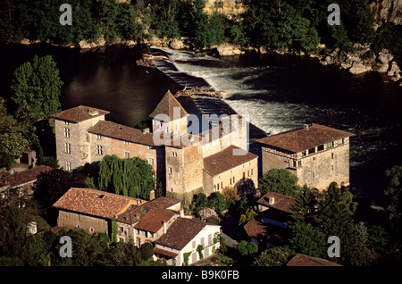 France, Lot et Garonne, Quercy, Lustrac, fortress mill of Lustrac on the banks of the Lot river (aerial view) - Stock Photo