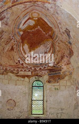 France, Loir et Cher, Montoire sur le Loir, Saint Gilles Chapel, 12th century frescoes with Romanesque Style - Stock Photo