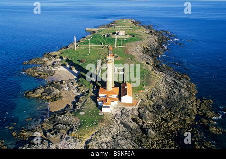 France, Vendee, Ile de Noirmoutier, Ile du Pilier, lighthouse (aerial view) - Stock Photo