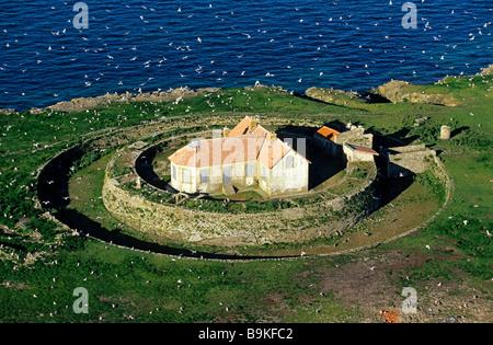 France, Vendee, Ile de Noirmoutier, Ile du Pilier (aerial view) - Stock Photo