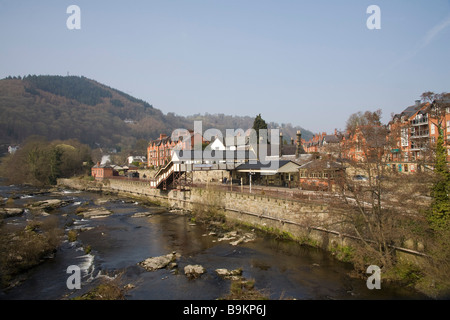 Llangollen Denbighshire North Wales UK March Looking across the River Dee to the railway station  eastern terminus - Stock Photo