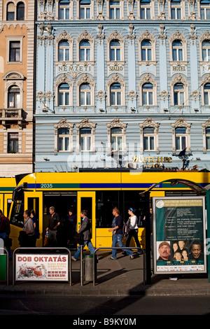 Hungary, Budapest, Pest District, Blaha Lujza Square, trolleybus - Stock Photo