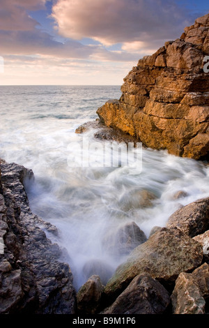 Evening at Thornwick Bay on the East Yorkshire coast near Flamborough Head Photographed in April - Stock Photo