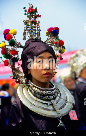 China, Guangxi province, woman of the Dong ethnic group - Stock Photo