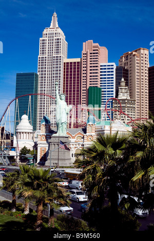 United States, Nevada, Las Vegas, Tropicana Avenue and The Strip intersection, New York New York Hotel and Casino - Stock Photo
