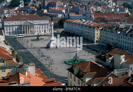 Portugal, Lisbon, Baixa district, Praca de Dom Pedro IV seen from the top of the elevador de Santa Justa (Santa - Stock Photo