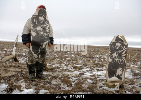 Canadian Ranger on training exercise wearing soldier target, Canadian Arctic, Canada - Stock Photo