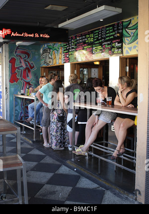 Street cafe in Acland Street in St.Kilda near Melbourne,Victoria,Australia - Stock Photo