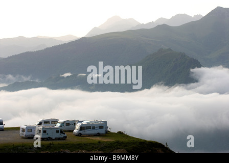 France, Hautes Pyrenees, col du Soulor (1474m), mobile homes - Stock Photo