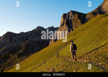 France, Hautes Pyrenees, panorama from col du Tourmalet (2115m) - Stock Photo