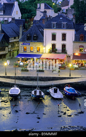 France, Morbihan, Gulf of Morbihan, Auray, port de Saint Goustan (aerial view) - Stock Photo