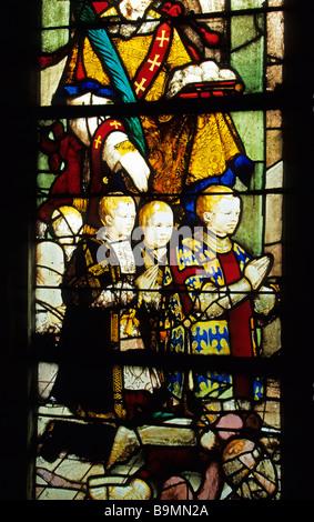 France, Val d'Oise (95), Ecouen, Saint Acceul Church, Revillon vitrier - Stock Photo