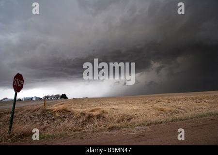 A supercell thunderstorm east of McCool Junction Nebraska March 23 2009 - Stock Photo