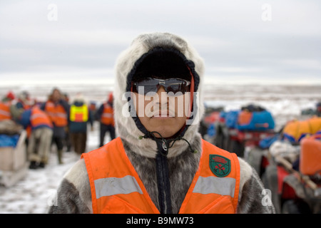 Canadian Ranger on training exercise at coast, portrait, Canadian Arctic, Canada - Stock Photo