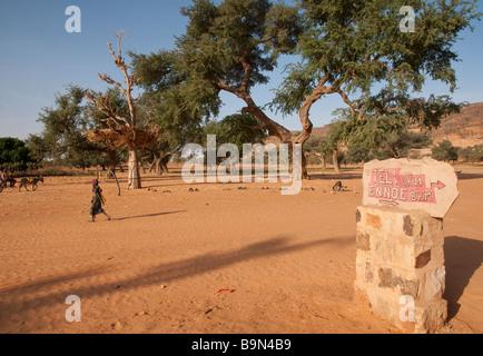 West Africa Mali Dogon country Kani Kombole Road sign to Teli - Stock Photo