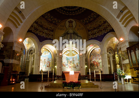 France, Hautes Pyrenees, Lourdes, the Rosary Basilica, altar and one of the three vaults in Byzantine Style representing - Stock Photo