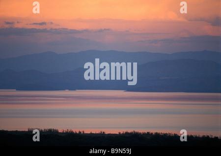 Ethiopia, Rift Valley, Nechisar National Park, sunset over the Abaya Lake - Stock Photo