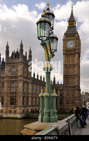 Westminster Clock Tower and Houses of Parliament from Westminster bridge - Stock Photo