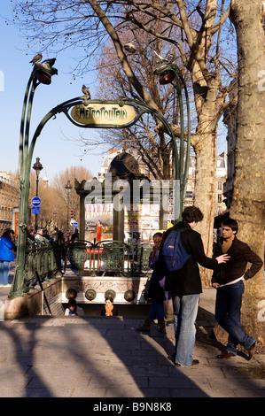 Entrance to saint michel metro station paris stock photo - Saint michel paris metro ...