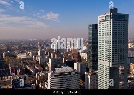 Poland, Mazovia Region, Warsaw, city seen from the 30th stage of Palac Kultury i Nauki (Science and Culture Palace) - Stock Photo