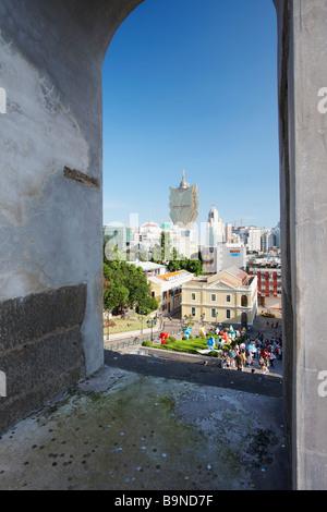 View Of Macau And Grand Lisboa From Ruins Of Church Of St Paul, Macau - Stock Photo