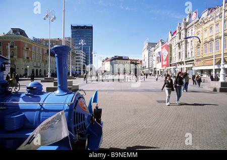 Ban Josip Jelacic square, Zagreb, Croatia, Europe - Stock Photo