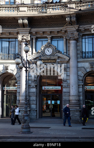 Unicredit banca front main door. Milano, Lombardy, Italy - Stock Photo