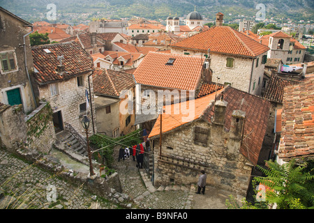 Narrow back streets in medieval town of Kotor Montenegro Europe - Stock Photo