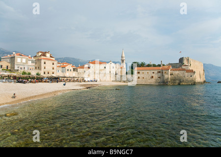 Old town fort and beach at Budva Montenegro Europe - Stock Photo