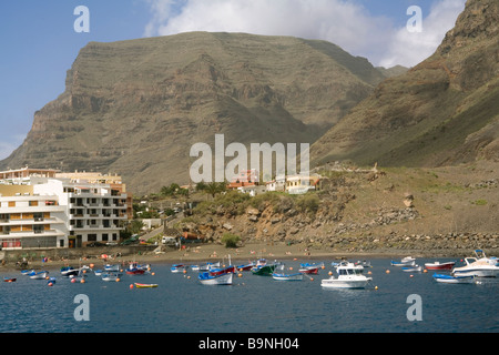 Spain Canary Islands La Gomera Valle Gran Rey, harbour & Playa de Vueltas - Stock Photo